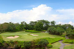 Large golf field for training and blue sky Royalty Free Stock Images