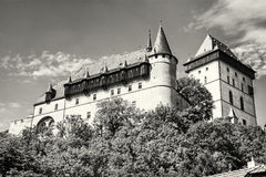 Large gothic castle Karlstejn, travel destination, colorless Stock Photography