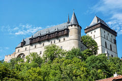 Large gothic castle Karlstejn, travel destination Royalty Free Stock Photos