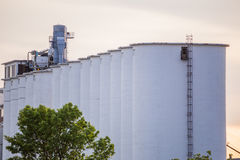 Large Grain Silos. Large, white grain silos in the midwestern USA stock photos