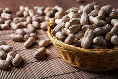 Large grains of peanuts in the shell and basket Stock Images