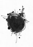 Large grainy abstract illustration with black ink circle, hand drawn with brush and liquid ink. On watercolor paper. Drawn with imperfections, spray, splashes Stock Photos