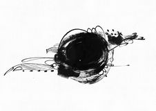 Large grainy abstract illustration with black ink circle, hand drawn with brush and liquid ink on watercolor paper. Drawn with imp. Erfections, spray, splashes royalty free illustration