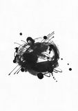 Large grainy abstract illustration with black ink circle, hand drawn with brush and liquid ink on watercolor paper. Drawn with imp. Erfections, spray, splashes Stock Photos