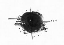 Large grainy abstract illustration with black ink circle, hand drawn with brush and liquid ink on watercolor paper. Drawn with imp. Erfections, spray, splashes Royalty Free Stock Photos