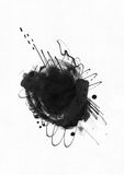 Large grainy abstract illustration with black ink circle, hand drawn with brush and liquid ink on watercolor paper. Drawn with imp. Erfections, spray, splashes Royalty Free Stock Images