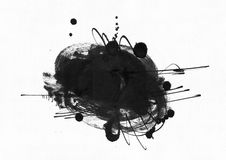 Large grainy abstract illustration with black ink circle, hand drawn with brush and liquid ink on watercolor paper. Drawn with imp. Erfections, spray, splashes Stock Images