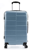Large gray polycarbonate suitcase isolated on white Royalty Free Stock Photos