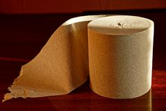 Gray roll of toilet paper on a red background Royalty Free Stock Photography
