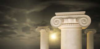 Large greek freestone columns. Stock Image