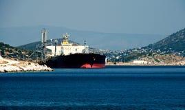Large greek gas tanker at dock Royalty Free Stock Image