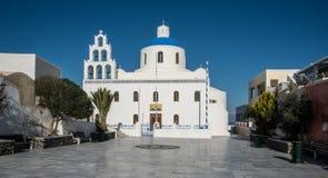 Large Greek Orthodox church on the island of Santorini Stock Photo