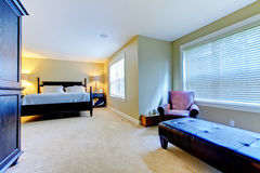 Large green bedroom wiith extra room Royalty Free Stock Photos