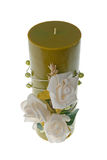 Large green candle with the flower Royalty Free Stock Photography