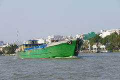 Large green cargo boat Royalty Free Stock Photos
