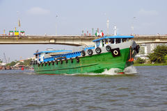Large green cargo boat Royalty Free Stock Photo
