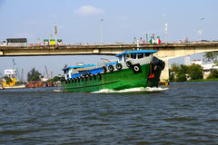 Large green cargo boat Royalty Free Stock Image