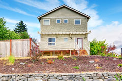 Large green craftsman classic American house exterior. Royalty Free Stock Photography