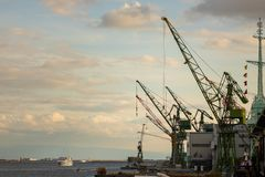 Infrastructure at Kobe Port on beautiful afternoon royalty free stock photo