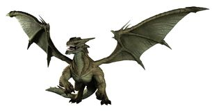 Large Green Dragon. 3d digitally rendered illustration Royalty Free Stock Photo