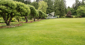 Large Green Lawn with Stage Royalty Free Stock Photo