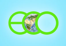 Large green letters spelling ECO closeup and globe illustration in the centre of picture. Elements this image are Stock Photography