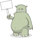 Large Green Monster Holding Advertising Message Board CArtoon Stock Photography