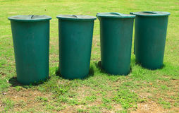 Large green plastic bins Stock Photos