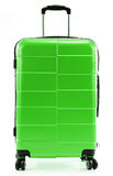 Large green polycarbonate suitcase on white Royalty Free Stock Photography