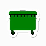 A large green recycling bin sticker Stock Photos