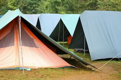 Large green tents in occasional camping Stock Images