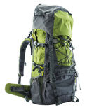 Large green touristic backpack isolated on white Royalty Free Stock Photo