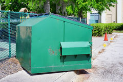 Large, green trash can Royalty Free Stock Images