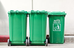 Large green trash cans Stock Photography