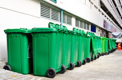 Large green trash cans Royalty Free Stock Image