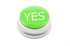 Large green YES button Stock Photo