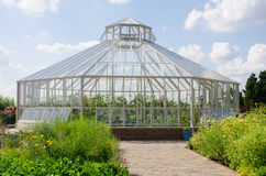 Large greenhouse for growing vegetables from outside Stock Photos