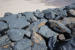 Large Grey Rocks Beach  Royalty Free Stock Images