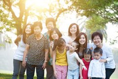 Large group of Asian multi generations family outdoors Royalty Free Stock Images