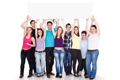 Large group with a banner Stock Image