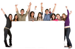 Large group with a banner Stock Photo