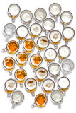 Large group of beer glasses seen from top Royalty Free Stock Photo