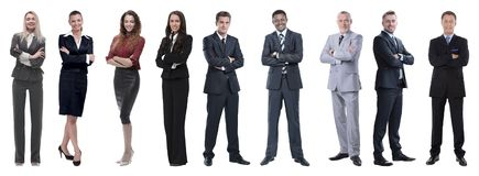 Portrait of friendly business team standing royalty free stock photos