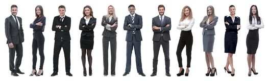 Large group of business people. Isolated over white. royalty free stock images