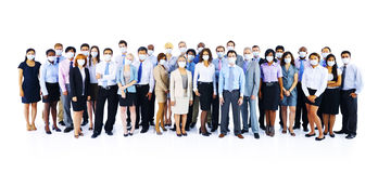Large Group Business People Keeping Silence Stock Photo