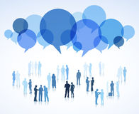 Large Group of Business People with Speech Bubbles Royalty Free Stock Image