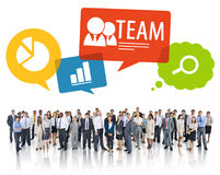 Large Group of Business People with Symbols Stock Photo