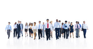 Large Group of Business People Walking Stock Photo