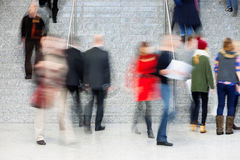 Large Group of Businesspeople on the Stairs, Motion Blur Stock Photos