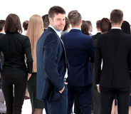 Large group of businesspeople standing back side Stock Images